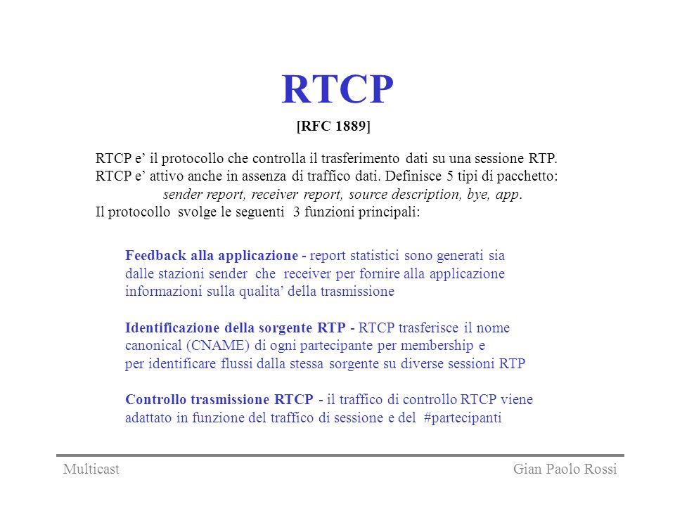 RTCP [RFC 1889] RTCP e' il protocollo che controlla il trasferimento dati su una sessione RTP.